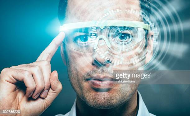 vr headset opens a virtual world to a immersive experience - hud graphical user interface stock photos and pictures