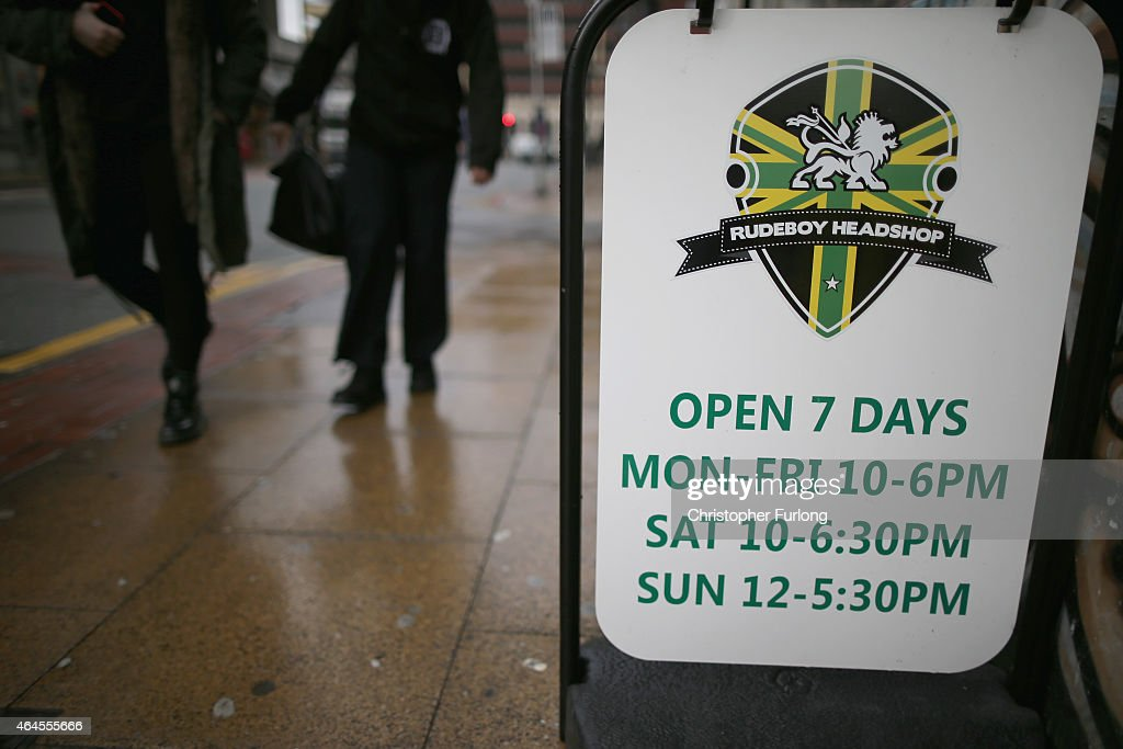 A 'Headshop' in the centre of Manchester on February 26, 2015 in Manchester, England. There has been a significant rise in the use of Legal Highs that are actually not against the law. They contain one or more chemical substances which produce similar effects to illegal drugs and can be purchased in local 'Headshops.' The 'highs' are not controlled under the Misuse of Drugs Act 1971 and can be purchased in many forms including pills, potions and herbs.