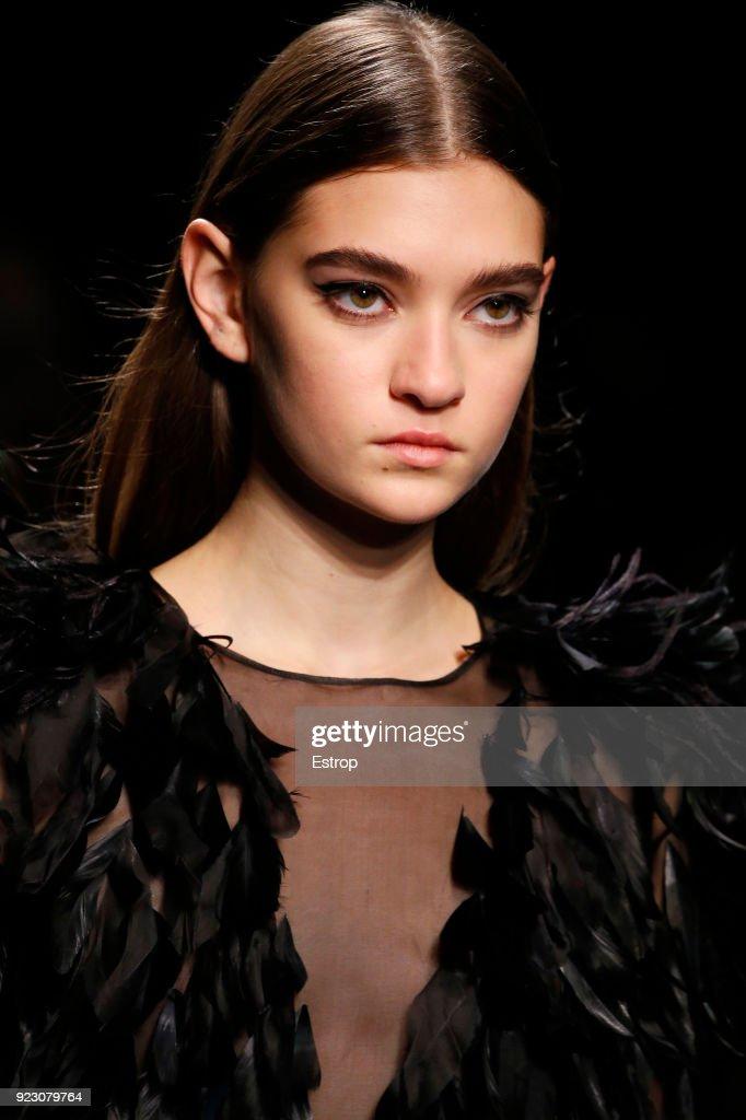 Headshot at the Alberta Ferretti show during Milan Fashion Week Fall/Winter 2018/19 on February 21, 2018 in Milan, Italy.