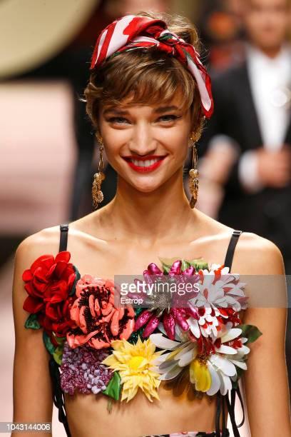 Headshot at the Dolce Gabbana show during Milan Fashion Week Spring/Summer 2019 on September 23 2018 in Milan Italy