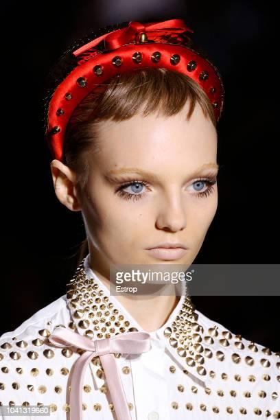 Headshot at the Prada show during Milan Fashion Week Spring/Summer 2019 on September 20 2018 in Milan Italy