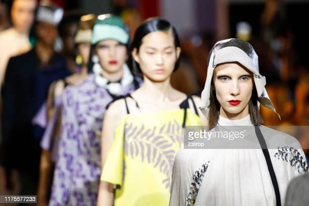 Headshot at the runway at the Prada show during the Milan Fashion Week Spring/Summer 2020 on September 18 2019 in Fondazione Prada in Milan Italy