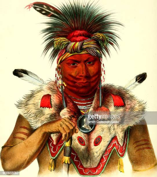 Headshot color illustration of Fox Chief Nesouaqouit aka 'Bear in the Forks of a Tree ' wearing red face paint a red feathered headdress a beaded and...