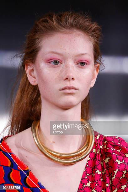 Headshot detail at the Marni show during Milan Fashion Week Fall/Winter 2018/19 on February 25 2018 in Milan Italy