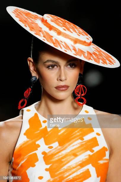 Headshot detail at the Moschino show during Milan Fashion Week Spring/Summer 2019 on September 20 2018 in Milan Italy