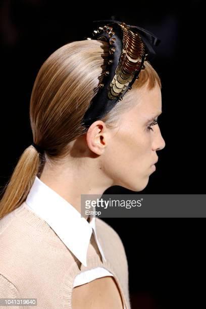 Headshot detail at the Prada show during Milan Fashion Week Spring/Summer 2019 on September 20 2018 in Milan Italy