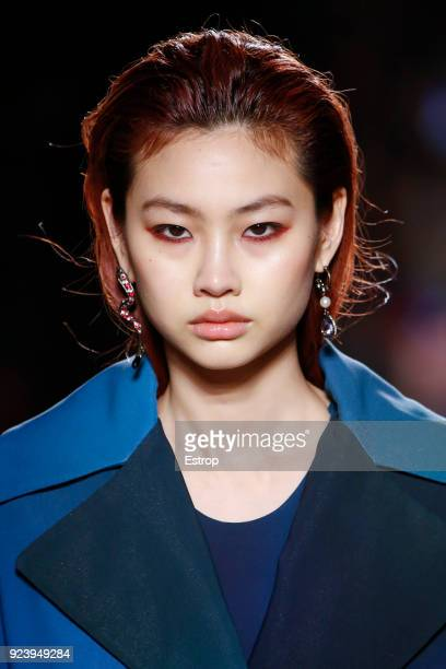 Headshot detail at the Roberto Cavalli show during Milan Fashion Week Fall/Winter 2018/19 on February 23 2018 in Milan Italy