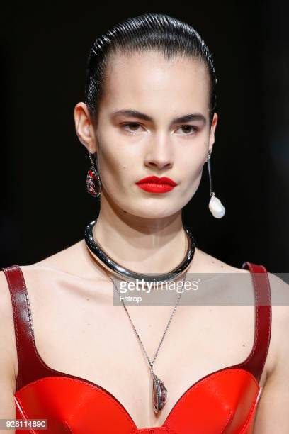 Headshot detail during the Alexander McQueen show as part of the Paris Fashion Week Womenswear Fall/Winter 2018/2019 on March 5 2018 in Paris France