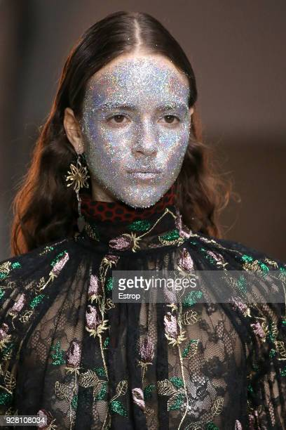 Headshot detail during the Giambattista Valli show as part of the Paris Fashion Week Womenswear Fall/Winter 2018/2019 on March 5 2018 in Paris France