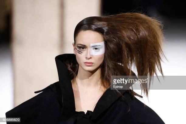 Headshot detail during the Yohji Yamamoto show as part of the Paris Fashion Week Womenswear Fall/Winter 2018/2019 on March 2, 2018 in Paris, France.