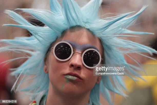 Headshot of a female comic book fan in costume during New York Comic Con at the Jacob Javits Convention Center in New York City, New York, October 5,...