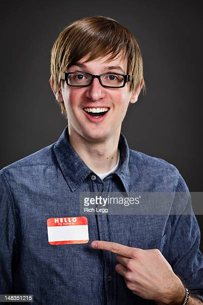 headshot of a young man - name tag stock photos and pictures