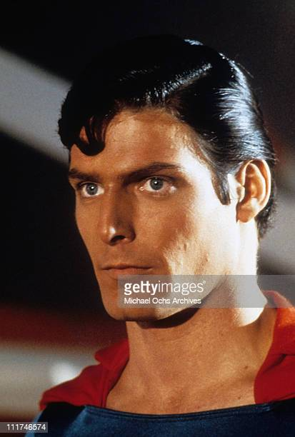 Headshot of actor Christopher Reeve as Superman in a scene from the film 'Superman' 1978