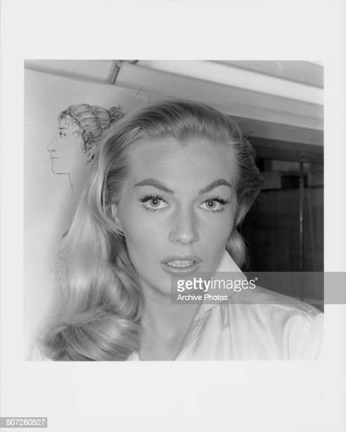 Headshot of actress Anita Ekberg circa 1955