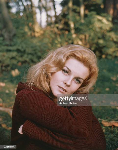 Headshot of actress AnnMargret with grass strewn with autumnal leaves pictured beyond USA circa 1965 AnnMargret who has her arms wrapped across her...