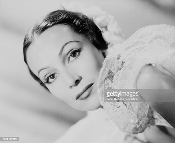 Headshot of actress Dolores del Rio as she appears in the film 'Lancer Spy' for 20th Century Fox 1937