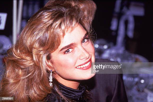Headshot of American actor Brooke Shields smiling at the American Film Institute Gala, Washington, D.C., 1989.