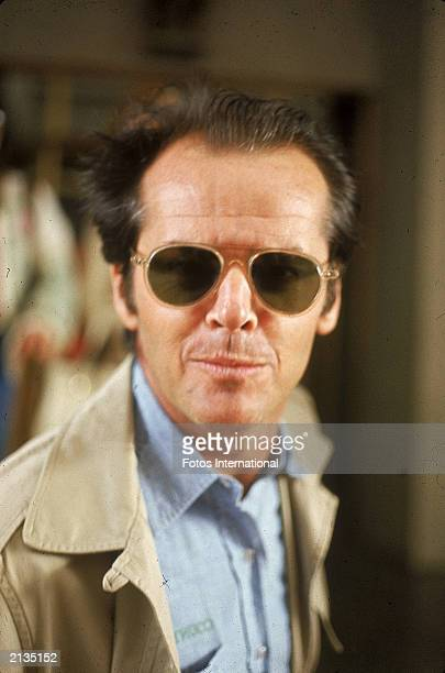 Headshot of American actor Jack Nicholson attending the Genii Awards, presented by American Women in Radio and Television, April 1976.