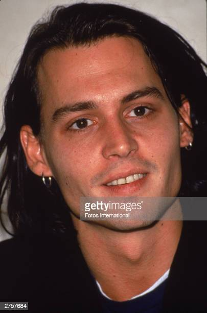 Headshot of American actor Johnny Depp circa 1990