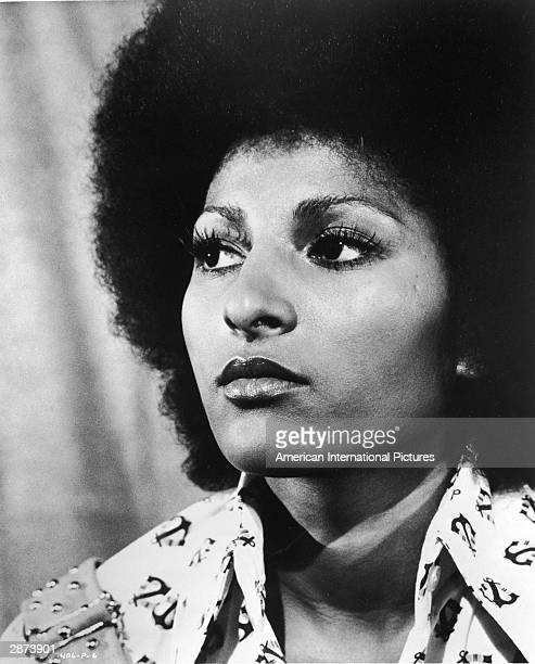 Headshot of American actor Pam Grier in a still from the film, 'Foxy Brown,' directed by Jack Hill, 1974.