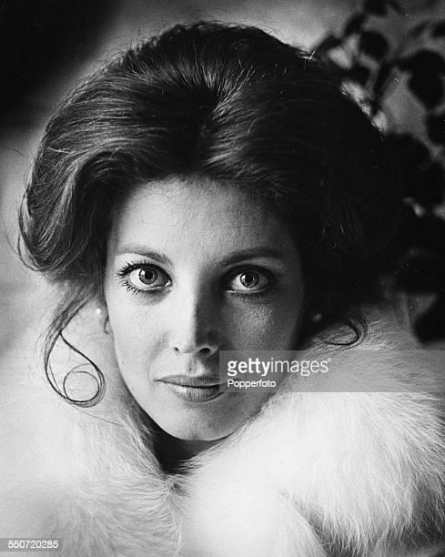 Headshot of American actress Gayle Hunnicutt wearing a fur lined collar circa 1970