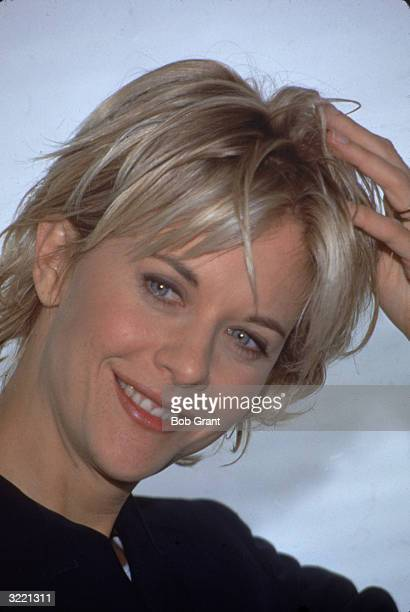 Headshot of American actress Meg Ryan March 1996