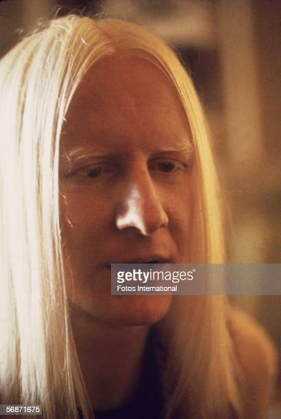 Headshot of American blues and rock guitarist Johnny Winter late 1960s or early 1970s