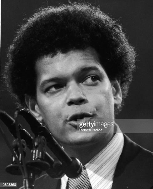 Headshot of American civil rights activist and legislator Julian Bond speaking at the Democratic National Convention, Miami, Florida, July 1972.