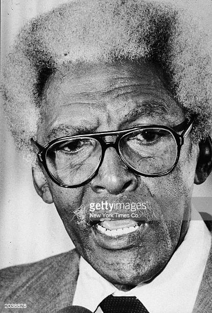 Headshot of American civil rights activist Bayard Rustin speaking at the Waldorf Hotel New York City September 14 1981