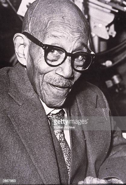 Headshot of American jazz pianist and composer Eubie Blake attending his 100th Birthday Celebration February 1983