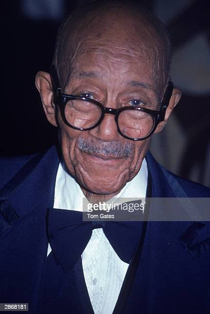 Headshot of American jazz pianist and songwriter Eubie Blake attending a benefit concert for the New York City Police Department at Regine's New York...