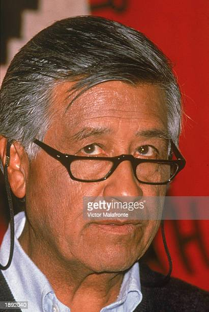 Headshot of American labor leader Cesar Chavez 1980s