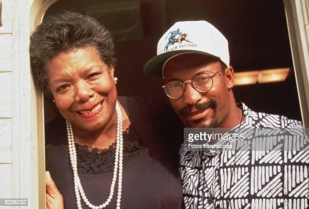 Headshot of American poet Maya Angelou and film director John Singleton who collaborated on Singleton's film 'Poetic Justice' Angelou wrote the...