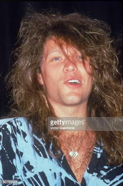 Headshot of American rock singer Jon Bon Jovi of the group Bon Jovi New York City 1985