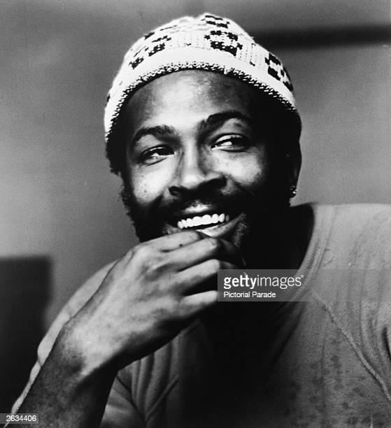 Headshot of American soul singer Marvin Gaye wearing a knit cap 1977