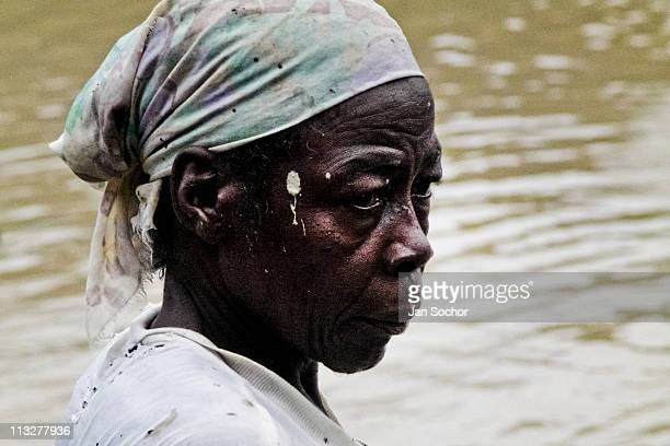 Headshot of an afro descendent woman who looks for gold in Agua Clara near Tadó city on May 26 2004 in Chocó Colombia This place where many women...