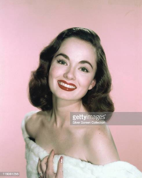 Headshot of Ann Blyth US actress smiling with bare shoulders in a studio portrait circa 1950