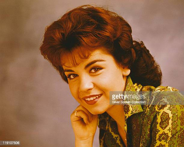 Headshot of Annette Funicello US singer and actress resting her chin on her hand circa 1965