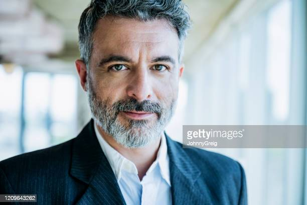 headshot of bearded businessman in mid 40s - open collar stock pictures, royalty-free photos & images