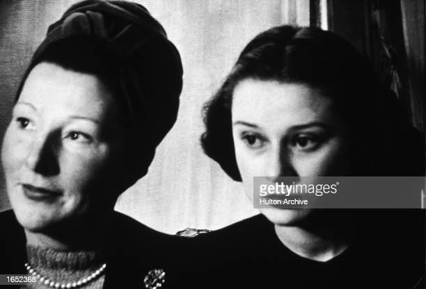 Headshot of Belgian born actor Audrey Hepburn as a teenager with her mother, Dutch baroness Ella Van Heemstra, 1946.