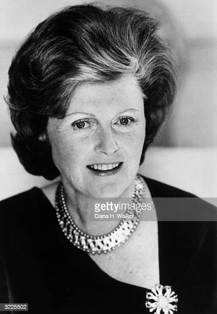 Headshot of Britishborn socialite and diplomat Pamela Harriman wearing a necklace and brooch taken at the time she was the director of Braniff