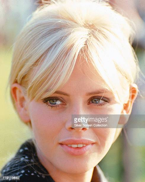 Headshot of Britt Ekland, Swedish actress, with a short blonde hairstyle, circa 1965.
