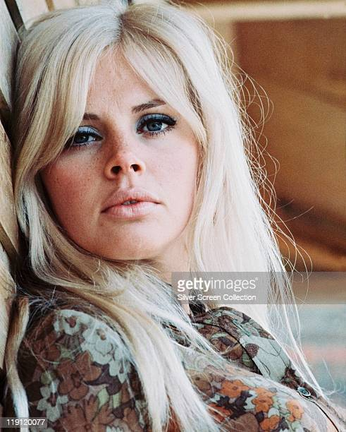 Headshot of Britt Ekland, Swedish actress, with long blonde hair, circa 1970.
