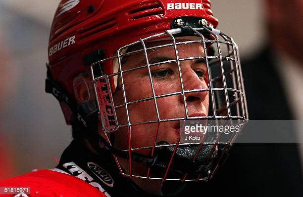 Headshot of Canadian ice hockey player Sidney Crosby of team Canada during the 2003 Under 18 Junior World Cup in a game against Switzerland Breclav...