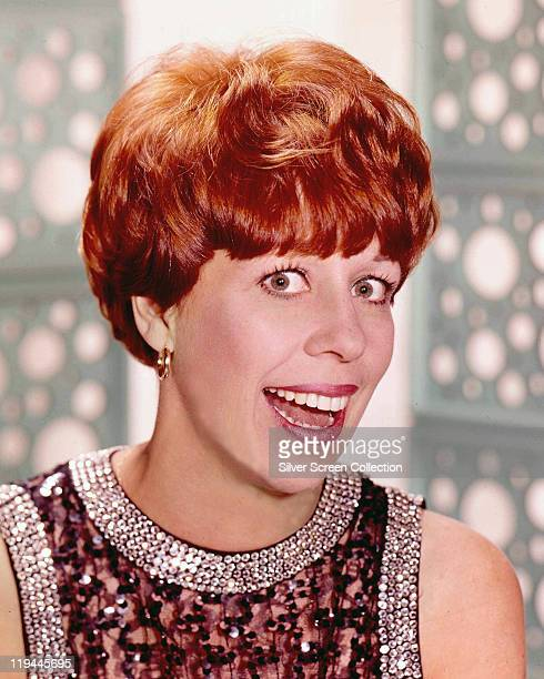 Headshot of Carol Burnett US actress singer and dancer wearing a sequinned top circa 1970