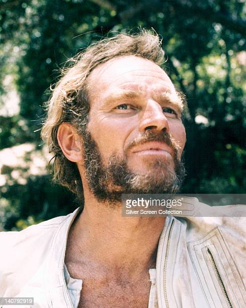 Headshot of Charlton Heston US actor in a publicity portrait issued for the film 'Planet of the Apes' 1968 The science fiction film directed by...