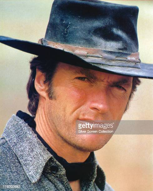 Headshot of Clint Eastwood US actor and film director wearing a cowboy hat in a publicity portrait issued for the film 'High Plains Drifter' USA 1973...