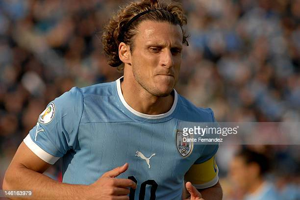 Headshot of Diego Forlan during a match between Uruguay and Peru as part of the sith round of the South American Qualifiers for FIFA World Cup Brazil...