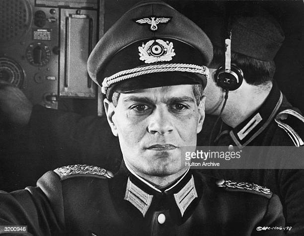 Headshot of Egyptian actor Omar Sharif, playing a Nazi, in a still from Russian-born director Anatole Litvak's film, 'Night of the Generals'.