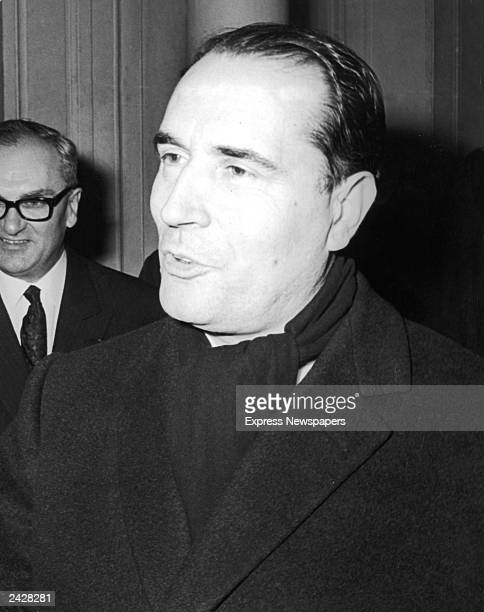 Headshot of French president Francois Mitterand at his campaign headquarters in Paris France December 14 1965